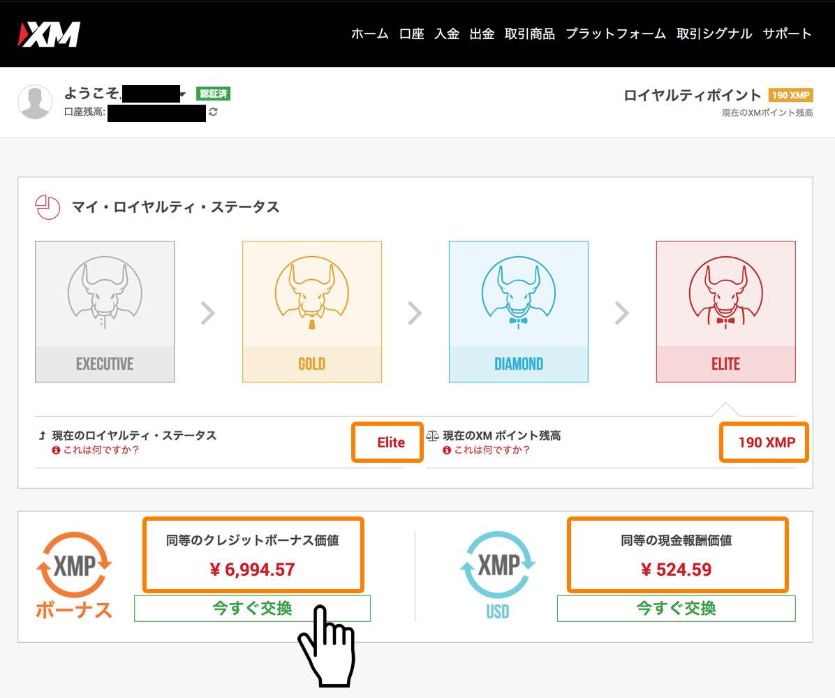 XMポイントの管理画面トップページ