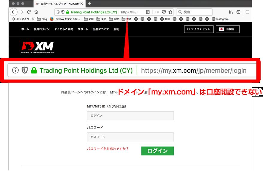 XM.comにアクセスしたページ