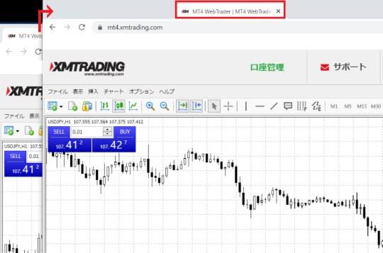 XMウェブトレーダー(WebTrader)のチャート画面