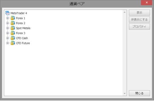 XM WebTraderの通貨ペアカテゴリー画面