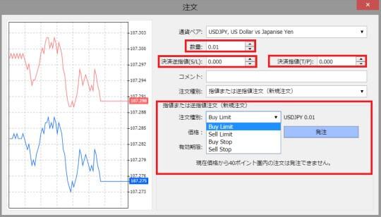 XMウェブトレーダー(WebTrader)の注文画面